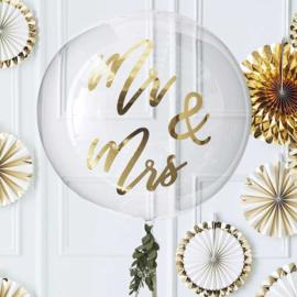 DIY : Mr & Mrs Stickers in het Goud voor op een Orb Doorzichtige Grote  Ballon - 36 Inch./90cm