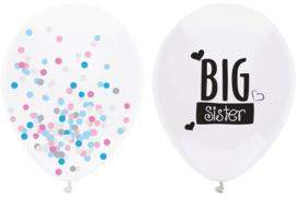 Big Sister - Grote Ballon + een Doorzichtige Confetti Ballon - 16 Inch/40 cm - 2 st.