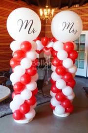 Mr & Mrs Ballonnen pilaar - Standaard - Rood /Wit