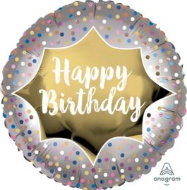 Happy Birthday -Satijn Goud / Zilver - 18 Inch/45cm