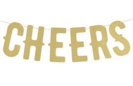 Letter Banner- Proost - Cheers - goud - 50 cm lang - feestslinger - ballonplus