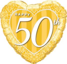 50 - Hart - Folie Ballon -Goud - 18 Inch. / 46 cm