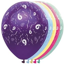 6 -  nummer -div. Kleuren -  latex ballon- 11 inch/27,5cm