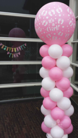 Ballonnen pilaar - standaard - It's a girl! (Roze & Wit)