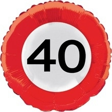 40 - Folie ballon -  verkeersbord -18 inch/45 cm