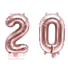 Getal - 20 - Cijfers /  Nummers - Rose Goud - Folie Ballon (lucht) 35 cm