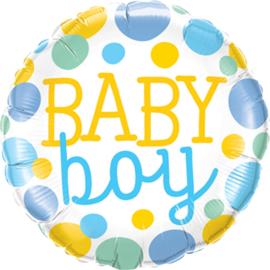 Baby Boy - Blauw / Mint / Geel stippen- Folie Ballon - 18 Inch/45cm