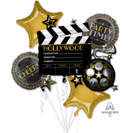 Hollywood, Party Time, Cheers, Film Folie Ballon Boeket - div. maten