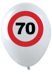 70- cijfer- verkeersbord  - latex ballon - 11 inch/27,5cm - 6 st.