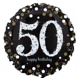 50 - Folie Ballon-Happy Birthday -Confetti  - Zilver / Zwart  17 Inch / 43 cm.