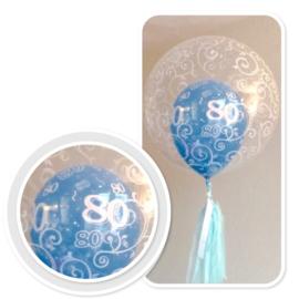 Decoratie Helium Ballon - met Tassel Blauw - 80 - Fancy Filigree - 24 Inch/60cm