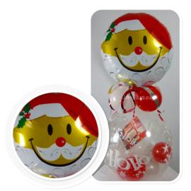 Cadeau - Kado Ballon - Kerstman Hoofd Smile - Ho Ho Ho - Folie Topballon
