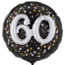 60 - Confetti print - XXl - Folie Ballon - Zwart / Zilver / Goud  -  Effect: 3 D - 32 Inch - 81 cm