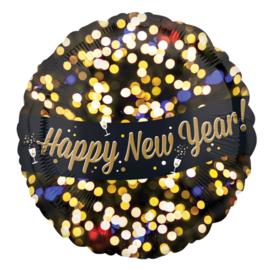 Happy New Year!- lichtjes - Goud /  Zwart - folie Ballon -  17 Inch / 43 cm