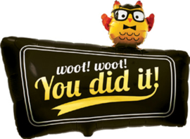 You did iT! - Woot! Woot! - Zwarte Folie Ballon - 24 Inch/61cm