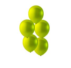 Appel groen kleurige ballonnen om te vullen met helium - Metallic - glans ballonnen - 30 cm - 5stk