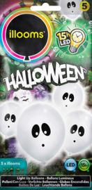 Illooms - Led Ballonnen  - HALLOWEEN -  Wit met oogjes- Spookjes - 5 stuks / 23 cm.