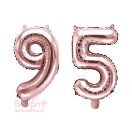 Getal - 95 - Cijfers /  Nummers - Rose Goud - Folie Ballon (lucht) 35 cm
