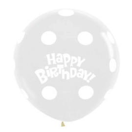 Happy Birthday -  Stippen - XXL Doorzichtige Latex Ballon - 36 inch/90cm