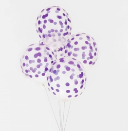 My Little Day  - Confetti - Paars Geprint - Latex Ballon - 12 Inch./ 30cm