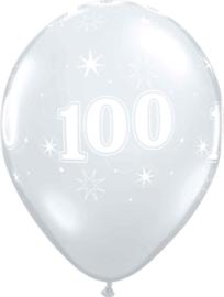100 - Nummer - Doorzichtige - latex ballon - 11 Inch. / 27,5cm- 5st.