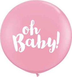 Oh Baby! - Roze Latex Ballon XXL -Latex Ballon - 36Inch / 90cm