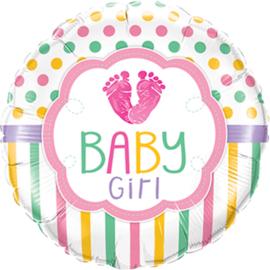 Baby Girl / Love - Folie ballon - Vrolijke meisjes kleuren - 18 Inch/ 46 cm
