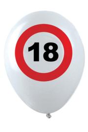 18- cijfer- verkeersbord  - latex ballon - 11 inch/27,5cm - 6 st.