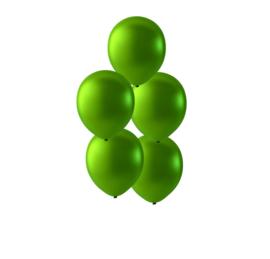 Groene latex ballonnen om te vullen met helium - Metallic Groen - glans ballonnen - 35 cm - 5stk