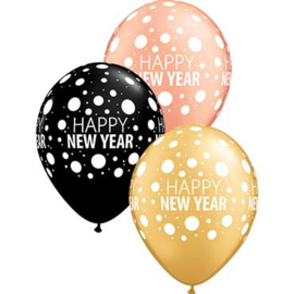 Happy New Year - Rose Goud / Goud / Zwart - Latex Ballon -  11 Inch / 27,5 cm - 5 st.