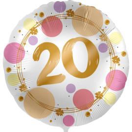 20 - Folie Ballon- rond - satijn wit met stippen in het roze/goud -18 inch /45cm