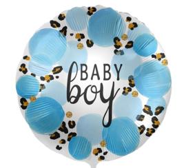 Baby Boy - Blauw / Panterprint - Folie Ballon - 17 Inch/43cm