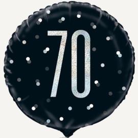 70 Zwart/Zilveren Folie Ballon - 18 Inch/ 46 cm