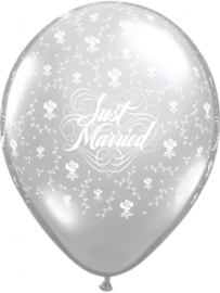 Just Married - Zilver - Bloemen - Latex Ballon - 11 Inch/ 27,5 cm