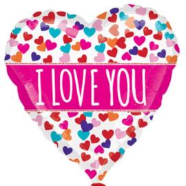 I LOVE YOU - Hartjes div. kleuren - Hart Folie Ballon - 21 Inch/53cm