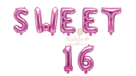 Sweet 16 - Cijfers /  Nummers/ Letters - Roze  - Folie Ballonnen pakket (lucht) 35 cm