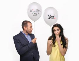 Will you marry me? ballon - yes - huwelijk s aanzoek ballonnen - liefde ballonplus - wit latex - wedding decoratie -ballon 6 stk
