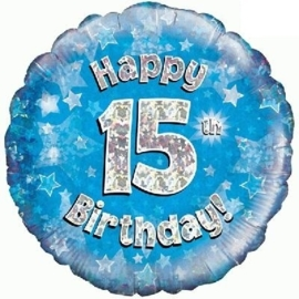 15 Folie ballon -  Happy Birthday - blauw - 18Inch/45cm