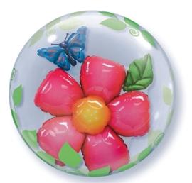 Bubbles  Ballon - Flowers / Bloemen - Ballon in een ballon  - 24 inch/61cm