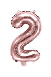 Cijfer - 2 - nummer - Rose Goud - Folie Ballon (lucht) 35 cm