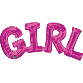 Girl - Fuchsia - Letters aan elkaar - Folie - Tekst Ballon - 22 X 10 Inch /  55 X 25 cm -  Lucht