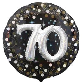 70 - Confetti print - XXl - Folie Ballon - Zwart / Zilver / Goud  -  Effect: 3 D - 32 Inch - 81 cm