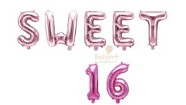 Sweet 16 - Cijfers /  Nummers/ Letters - Roze/Rose Goud  - Folie Ballonnen pakket (lucht) 35 cm
