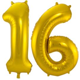 16 - Goud - XXL Folie Ballon - Nummer - 34inch./86cm