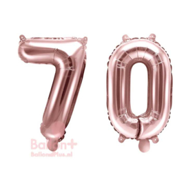 Getal - 70 - Cijfers /  Nummers - Rose Goud - Folie Ballon (lucht) 35 cm