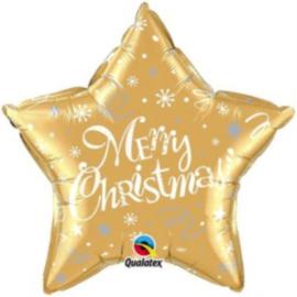 Merry Christmas - Ster - Goud -Folie Ballon - 20 Inch./51cm