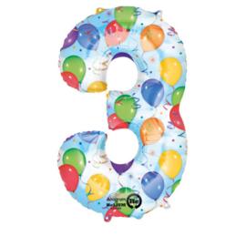 Cijfer - 3 - Blauw met gekleurde ballonnetjes opdruk- XXL Folie Ballon - Nummer - 34inch./86cm