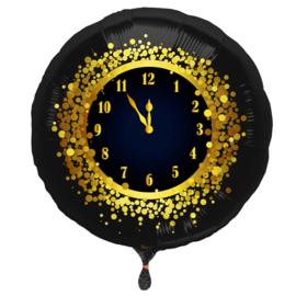 Klok -  5 voor 12 - Goud / Zwart  - Folie Ballon - 18 Inch/45 cm