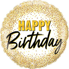 Happy Birthday - Folie Ballon - Wit met gouden confetti print - 18 Inch/ 46 cm