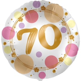 70 - Folie Ballon- rond - satijn wit met stippen in het roze/goud -18 inch /45cm